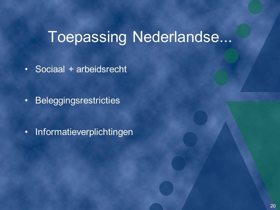 Toepassing Nederlandse...