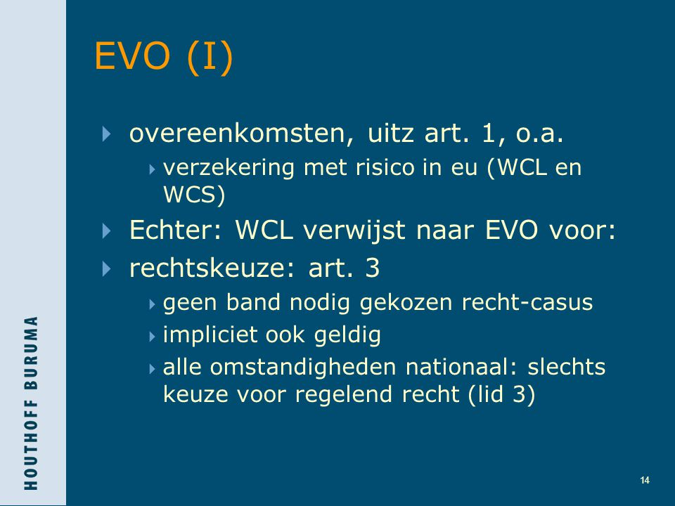 EVO (I) overeenkomsten, uitz art. 1, o.a.