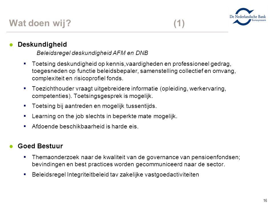 Wat doen wij (1) Deskundigheid Beleidsregel deskundigheid AFM en DNB