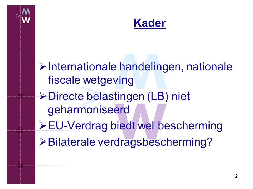 Kader Internationale handelingen, nationale fiscale wetgeving. Directe belastingen (LB) niet geharmoniseerd.