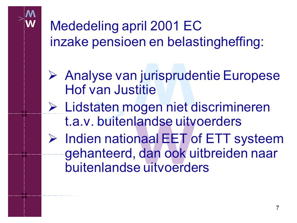 Mededeling april 2001 EC inzake pensioen en belastingheffing: