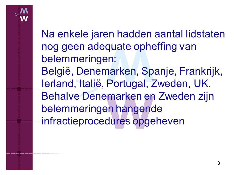 Na enkele jaren hadden aantal lidstaten nog geen adequate opheffing van belemmeringen: België, Denemarken, Spanje, Frankrijk, Ierland, Italië, Portugal, Zweden, UK.