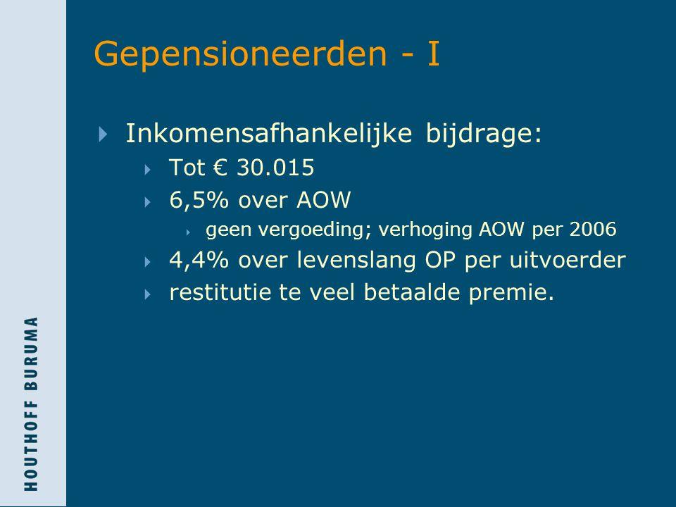 Gepensioneerden - I Inkomensafhankelijke bijdrage: Tot € 30.015