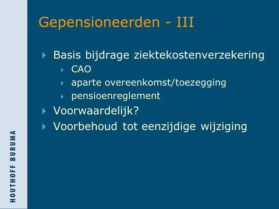 Gepensioneerden - III Basis bijdrage ziektekostenverzekering