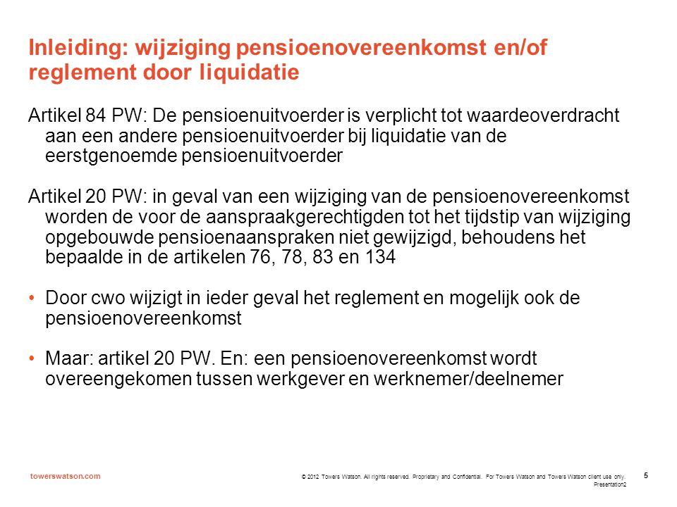 Inleiding: wijziging pensioenovereenkomst en/of reglement door liquidatie