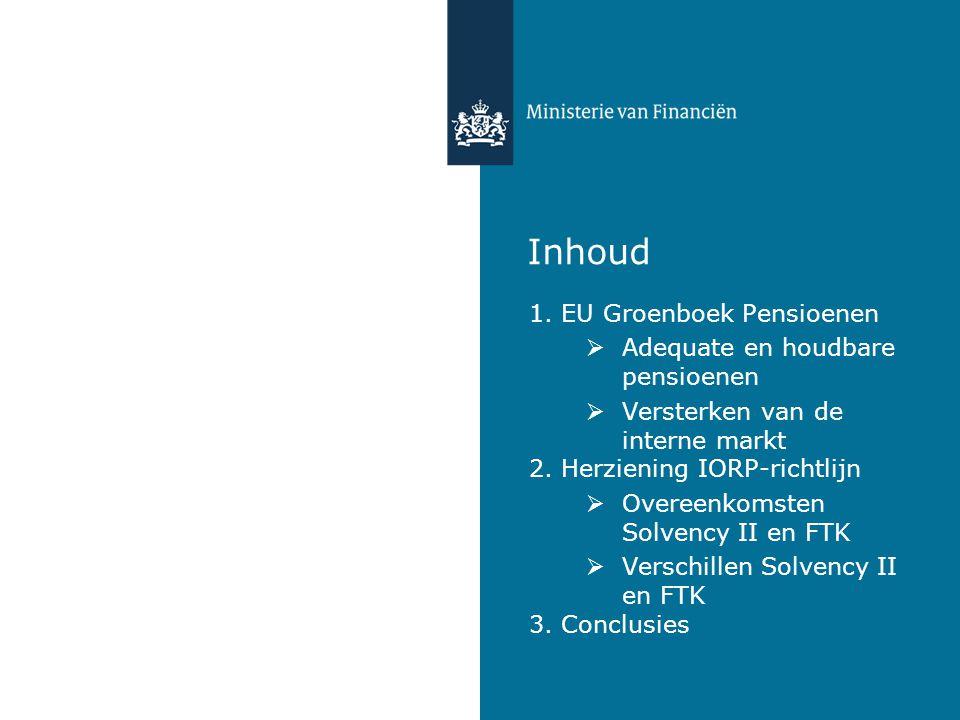 Inhoud 1. EU Groenboek Pensioenen Adequate en houdbare pensioenen