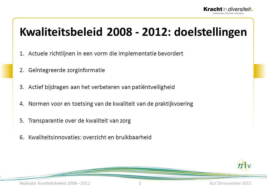 Kwaliteitsbeleid 2008 - 2012: doelstellingen