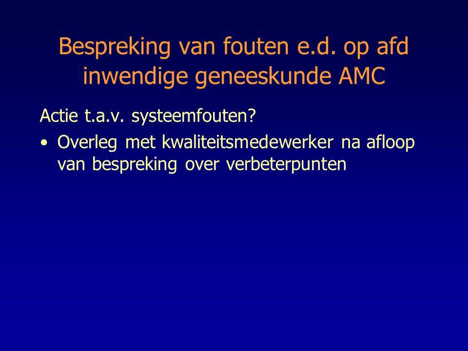 Bespreking van fouten e.d. op afd inwendige geneeskunde AMC
