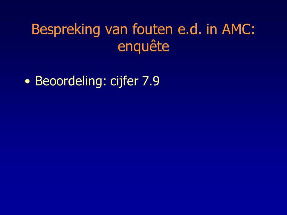 Bespreking van fouten e.d. in AMC: enquête
