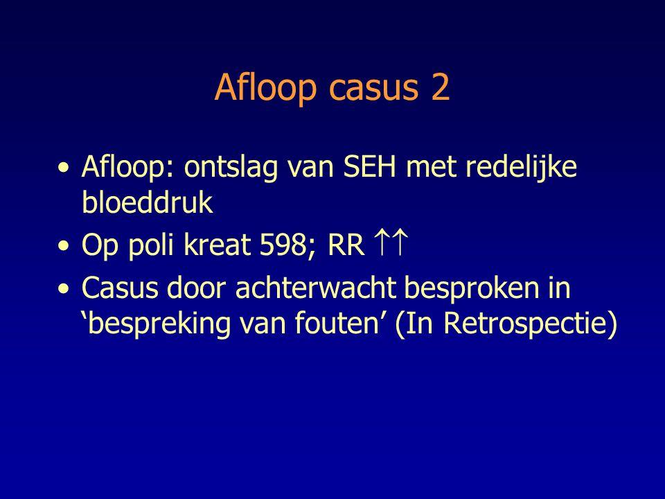 Afloop casus 2 Afloop: ontslag van SEH met redelijke bloeddruk