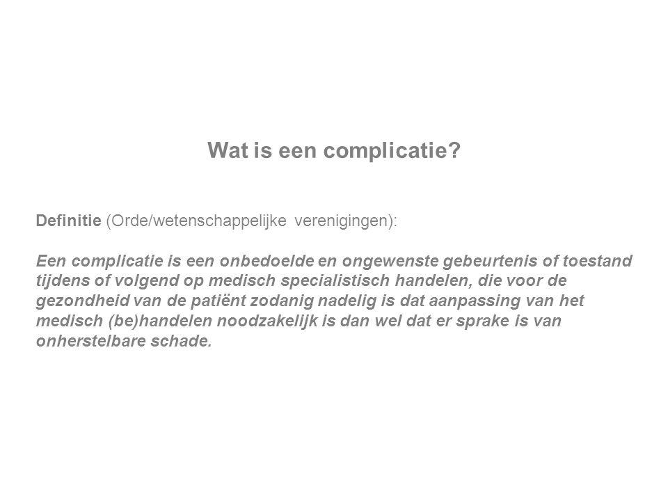 Wat is een complicatie Definitie (Orde/wetenschappelijke verenigingen):