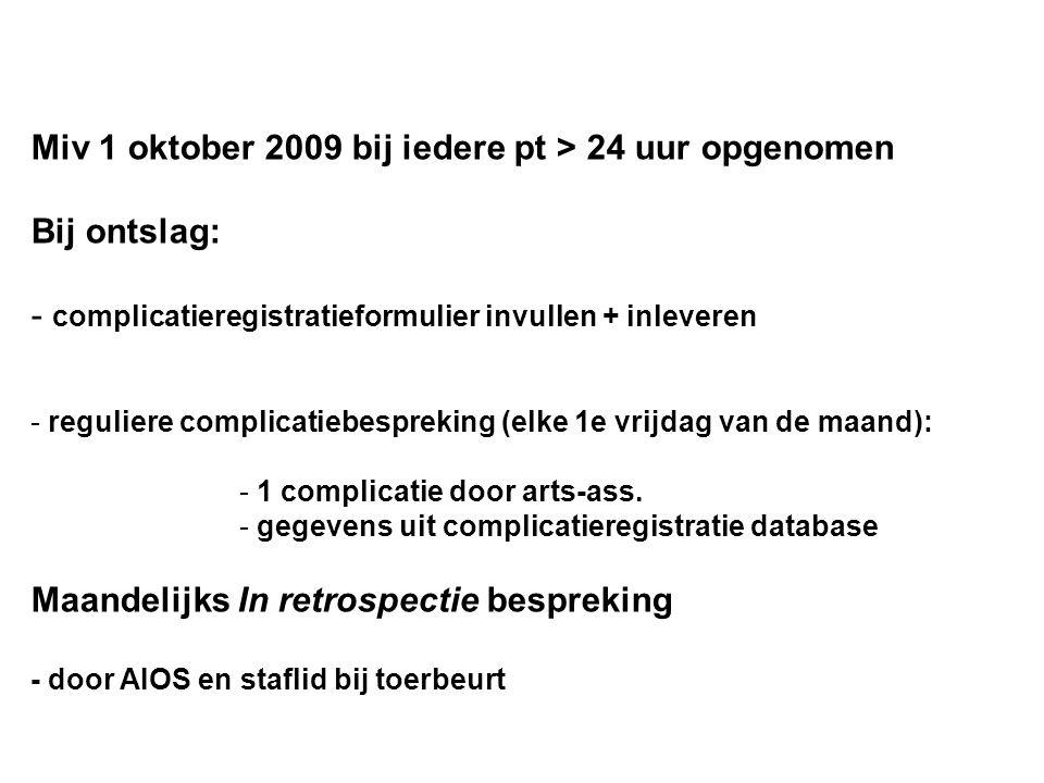 Miv 1 oktober 2009 bij iedere pt > 24 uur opgenomen Bij ontslag: