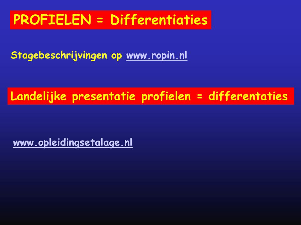 PROFIELEN = Differentiaties