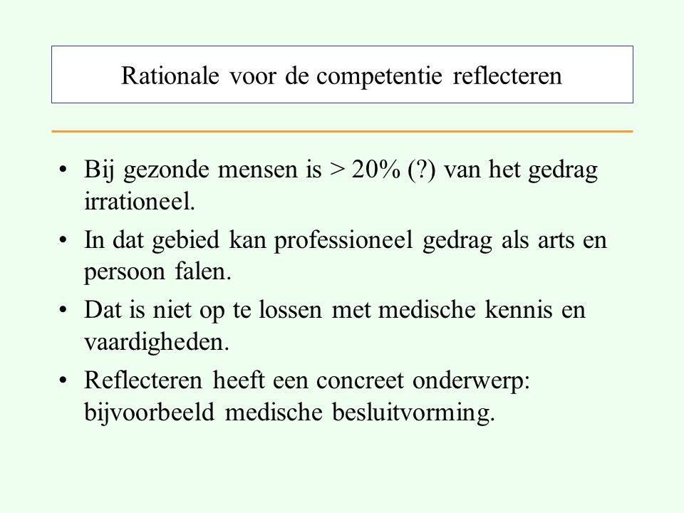 Rationale voor de competentie reflecteren