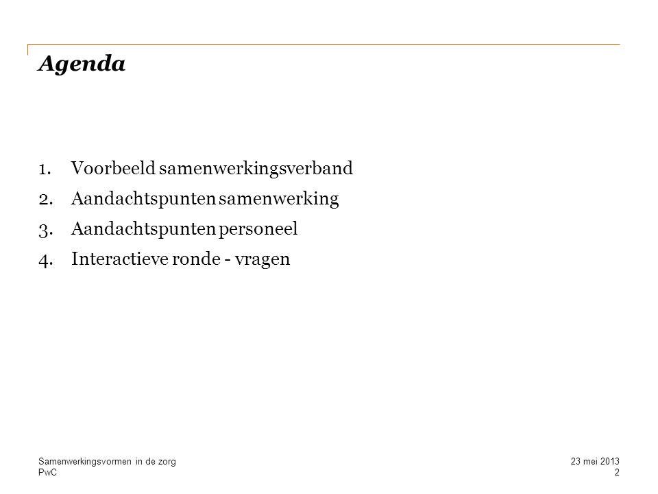Agenda Voorbeeld samenwerkingsverband Aandachtspunten samenwerking