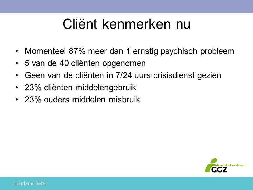 Cliënt kenmerken nu Momenteel 87% meer dan 1 ernstig psychisch probleem. 5 van de 40 cliënten opgenomen.