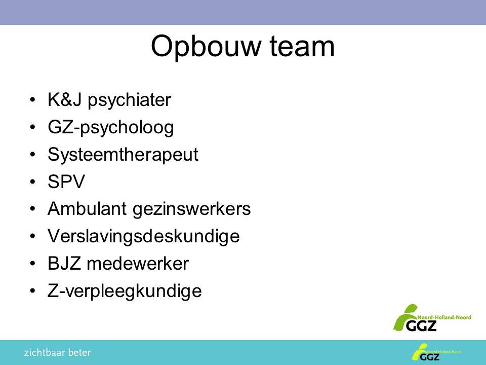 Opbouw team K&J psychiater GZ-psycholoog Systeemtherapeut SPV