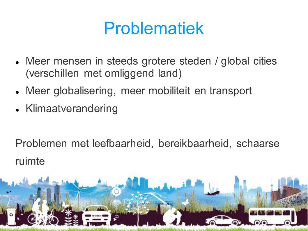 Problematiek Meer mensen in steeds grotere steden / global cities (verschillen met omliggend land)