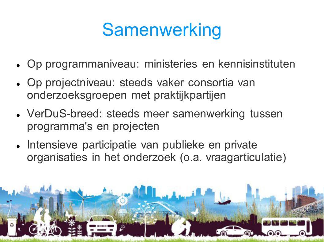 Samenwerking Op programmaniveau: ministeries en kennisinstituten