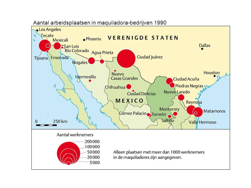 Aantal arbeidsplaatsen in maquiladora-bedrijven 1990