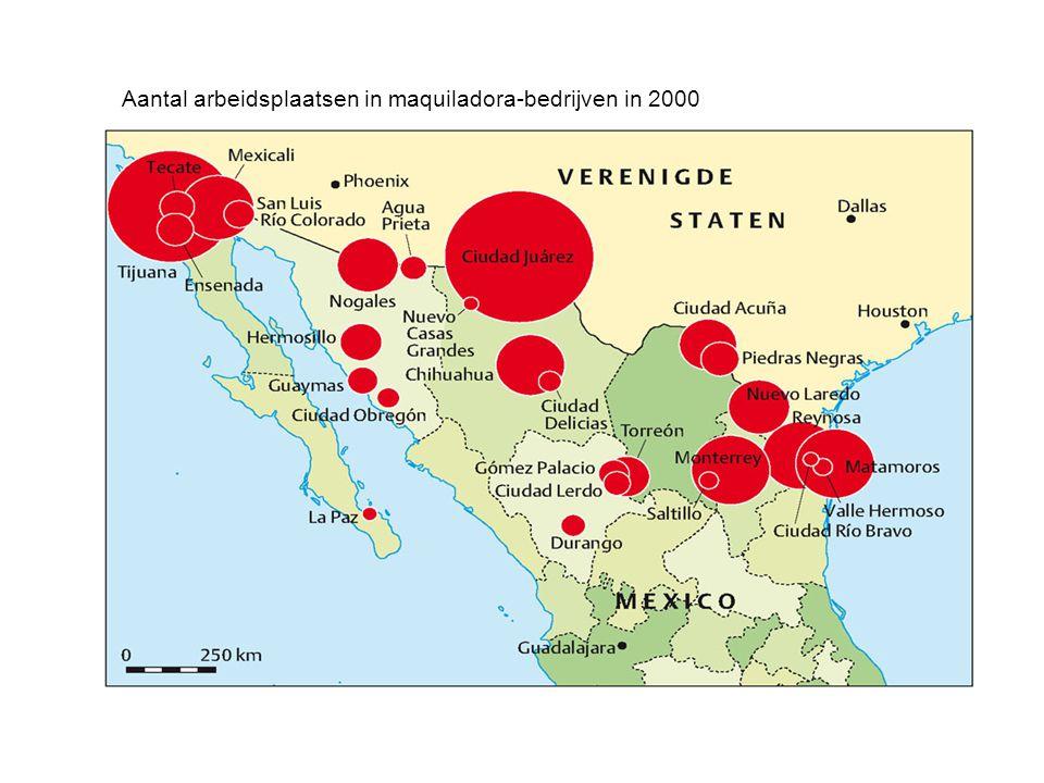 Aantal arbeidsplaatsen in maquiladora-bedrijven in 2000