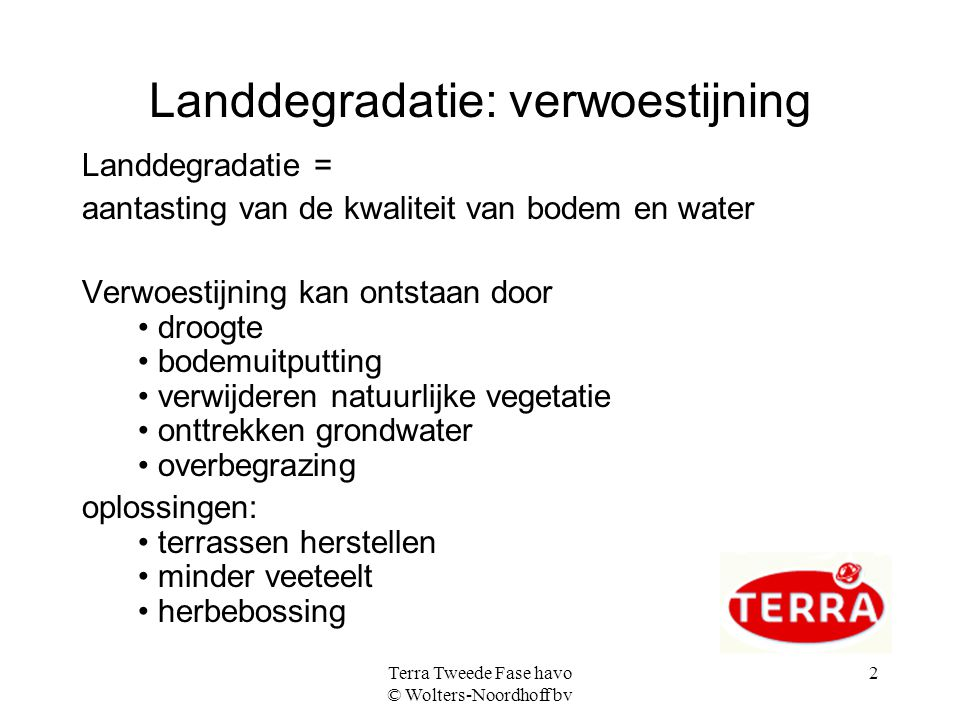 Landdegradatie: verwoestijning