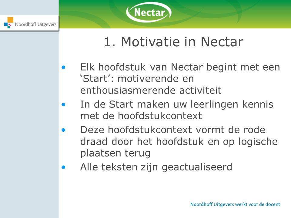 1. Motivatie in Nectar Elk hoofdstuk van Nectar begint met een 'Start': motiverende en enthousiasmerende activiteit.
