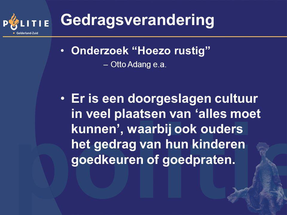 Gedragsverandering Onderzoek Hoezo rustig Otto Adang e.a.