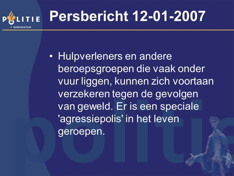 Persbericht 12-01-2007