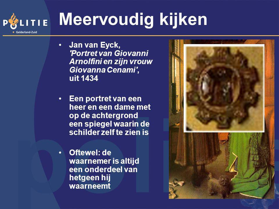 Meervoudig kijken Jan van Eyck, Portret van Giovanni Arnolfini en zijn vrouw Giovanna Cenami , uit 1434.