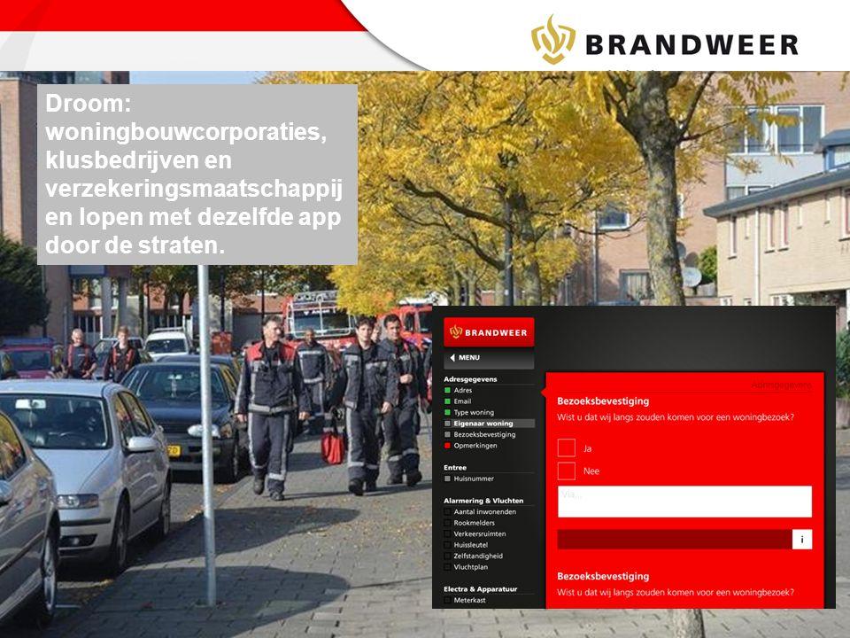 Droom: woningbouwcorporaties, klusbedrijven en verzekeringsmaatschappijen lopen met dezelfde app door de straten.