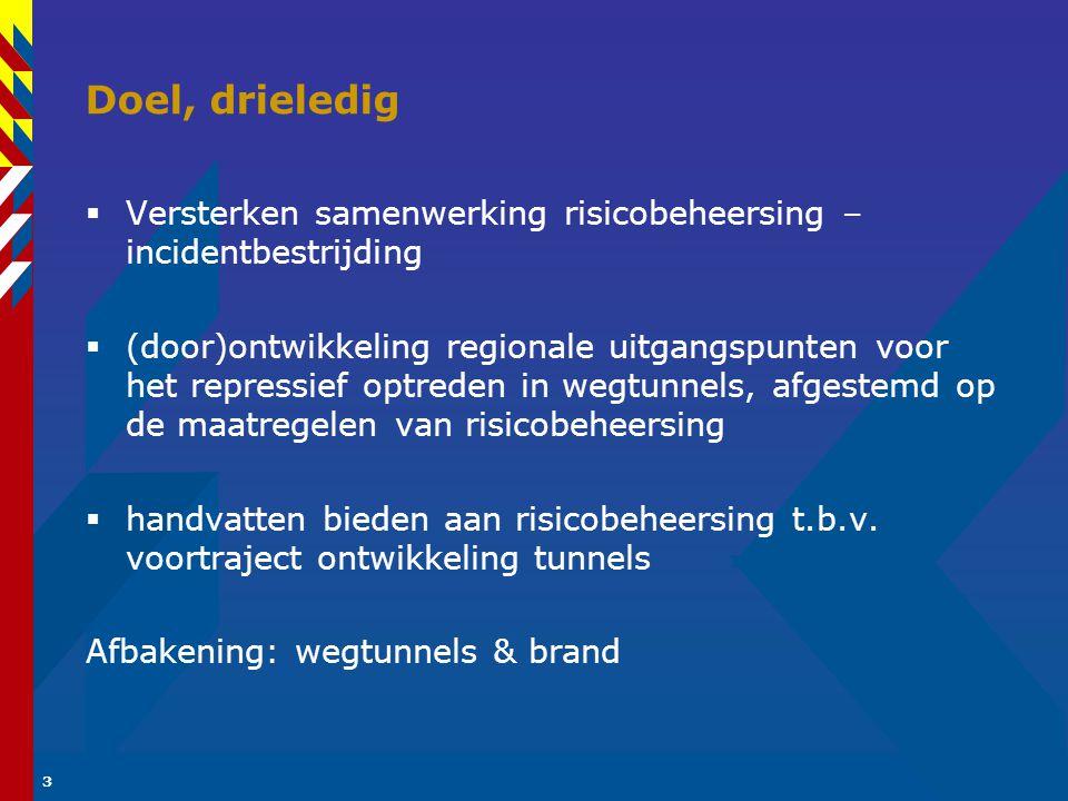 Doel, drieledig Versterken samenwerking risicobeheersing – incidentbestrijding.