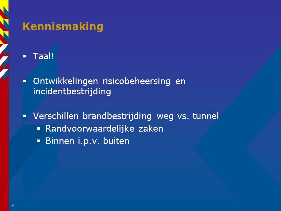 Kennismaking Taal! Ontwikkelingen risicobeheersing en incidentbestrijding. Verschillen brandbestrijding weg vs. tunnel.