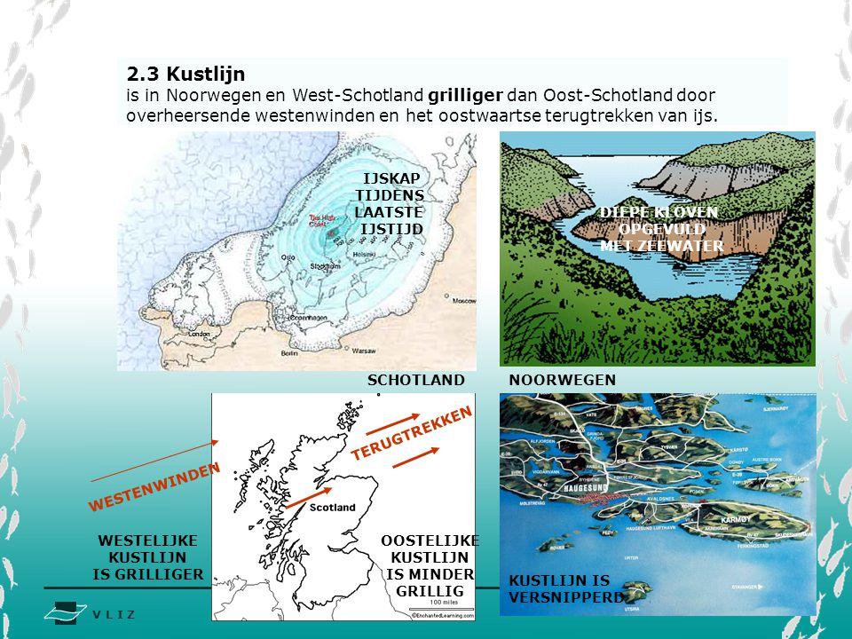 2.3 Kustlijn is in Noorwegen en West-Schotland grilliger dan Oost-Schotland door overheersende westenwinden en het oostwaartse terugtrekken van ijs.