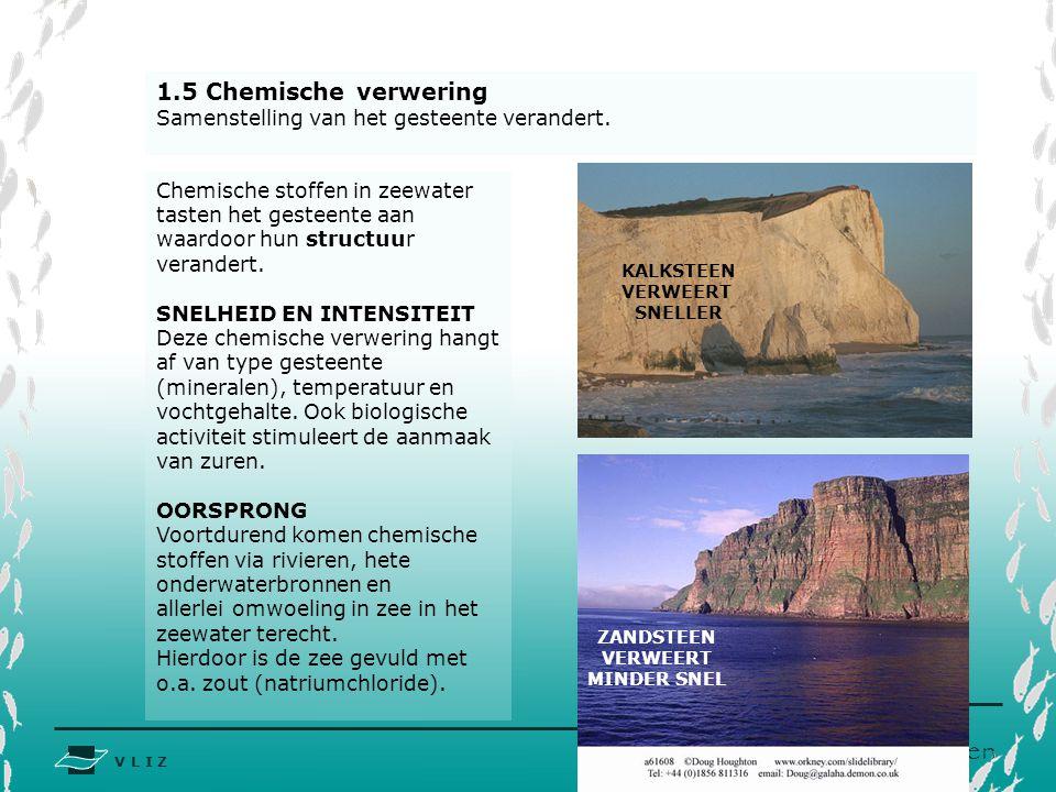 1.5 Chemische verwering Samenstelling van het gesteente verandert.