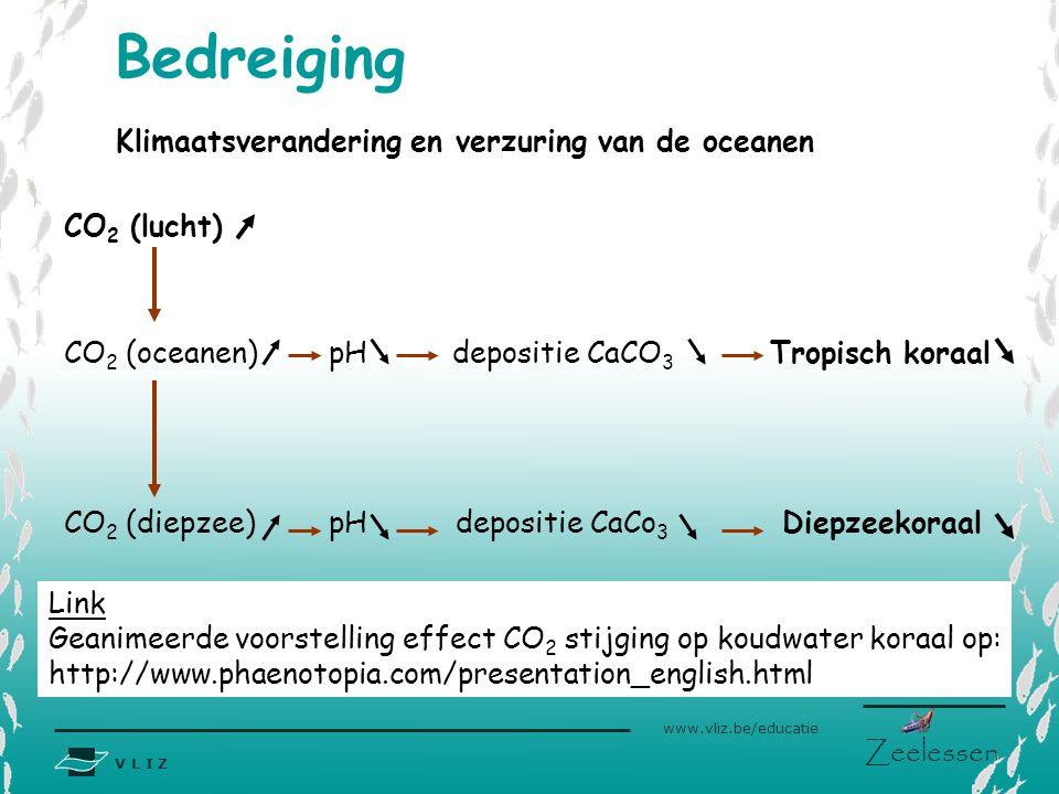 Bedreiging Klimaatsverandering en verzuring van de oceanen CO2 (lucht)