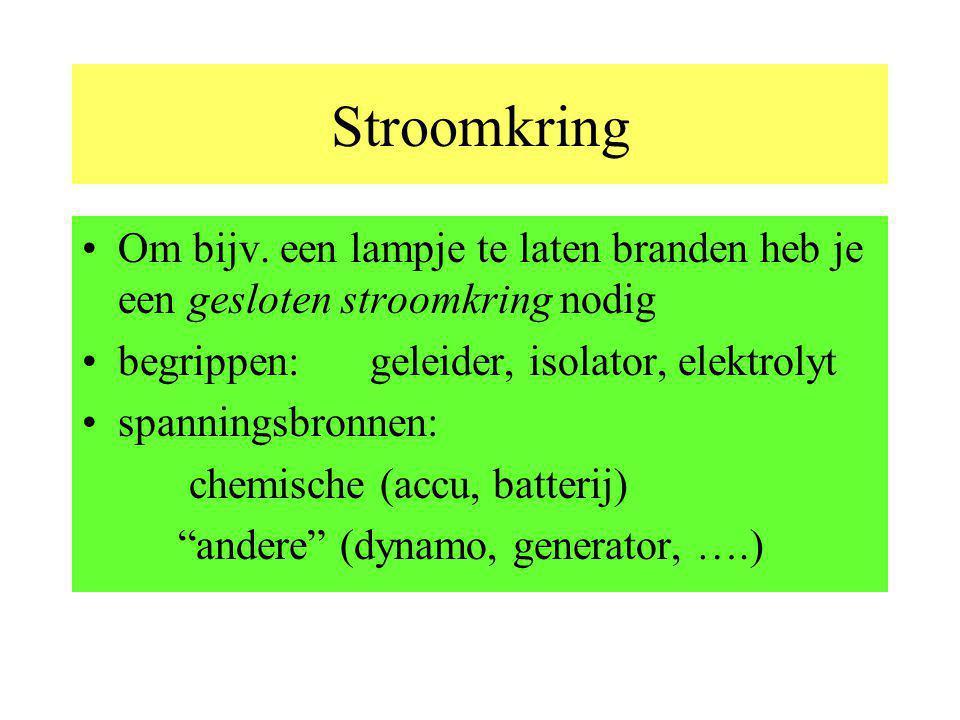Stroomkring Om bijv. een lampje te laten branden heb je een gesloten stroomkring nodig. begrippen: geleider, isolator, elektrolyt.