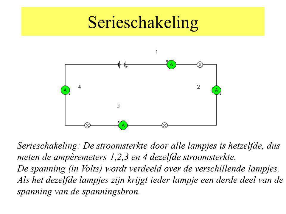 Serieschakeling Serieschakeling: De stroomsterkte door alle lampjes is hetzelfde, dus meten de ampèremeters 1,2,3 en 4 dezelfde stroomsterkte.