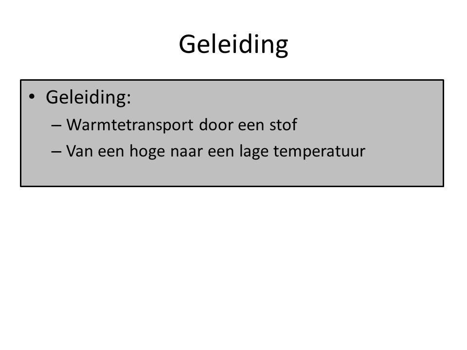 Geleiding Geleiding: Warmtetransport door een stof
