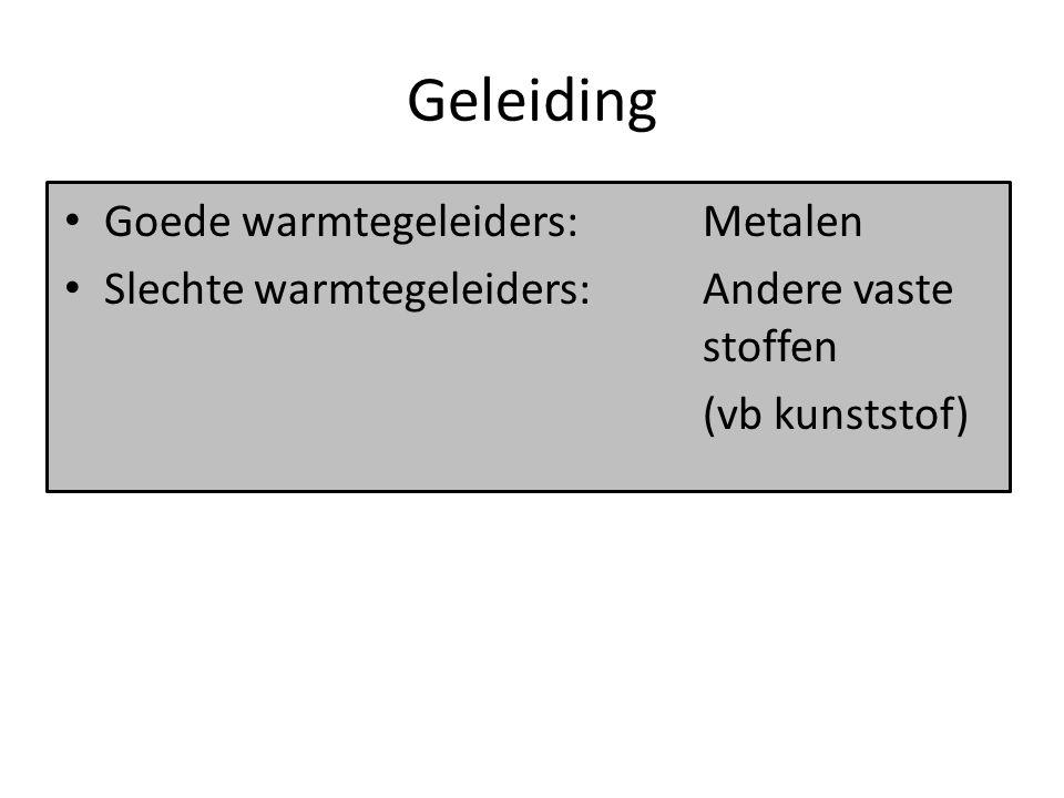Geleiding Goede warmtegeleiders: Metalen