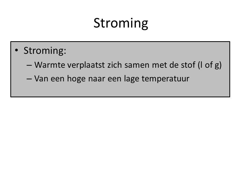 Stroming Stroming: Warmte verplaatst zich samen met de stof (l of g)