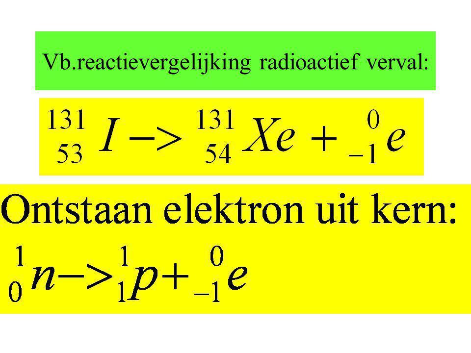 Vb.reactievergelijking radioactief verval: