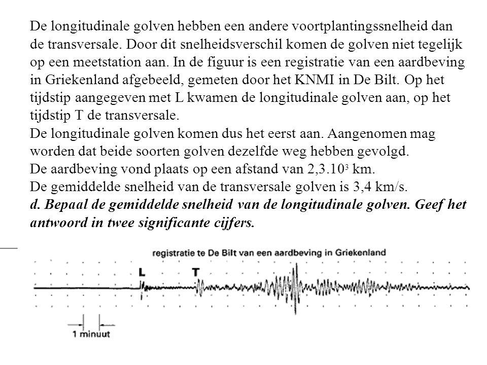 De longitudinale golven hebben een andere voortplantingssnelheid dan de transversale. Door dit snelheidsverschil komen de golven niet tegelijk op een meetstation aan. In de figuur is een registratie van een aardbeving in Griekenland afgebeeld, gemeten door het KNMI in De Bilt. Op het tijdstip aangegeven met L kwamen de longitudinale golven aan, op het tijdstip T de transversale.