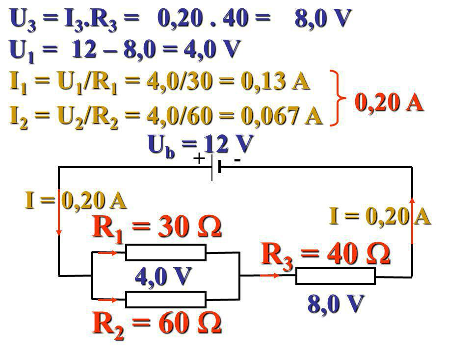 U3 = I3.R3 = 0,20 . 40 = 8,0 V. U1 = 12 – 8,0 = 4,0 V. I1 = U1/R1 = 4,0/30 = 0,13 A. 0,20 A. I2 = U2/R2 =
