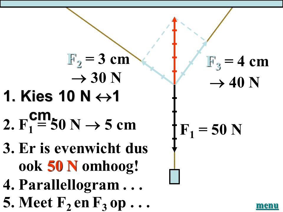 F2 = 3 cm F3 = 4 cm  30 N  40 N 1. Kies 10 N 1 cm.