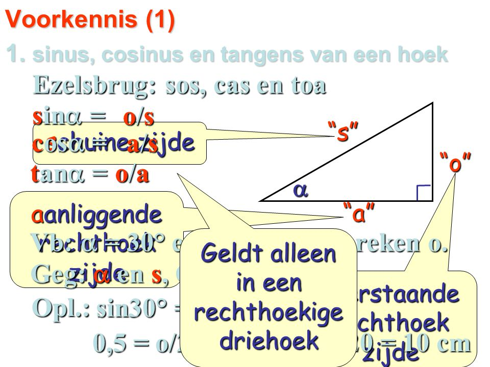 1. sinus, cosinus en tangens van een hoek