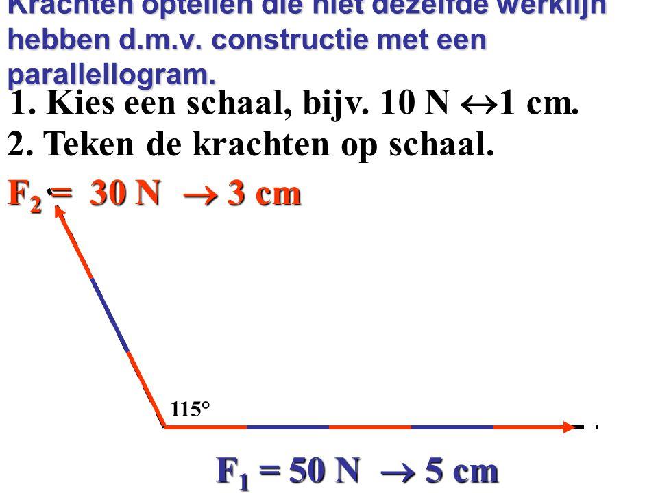 1. Kies een schaal, bijv. 10 N 1 cm. 2. Teken de krachten op schaal.