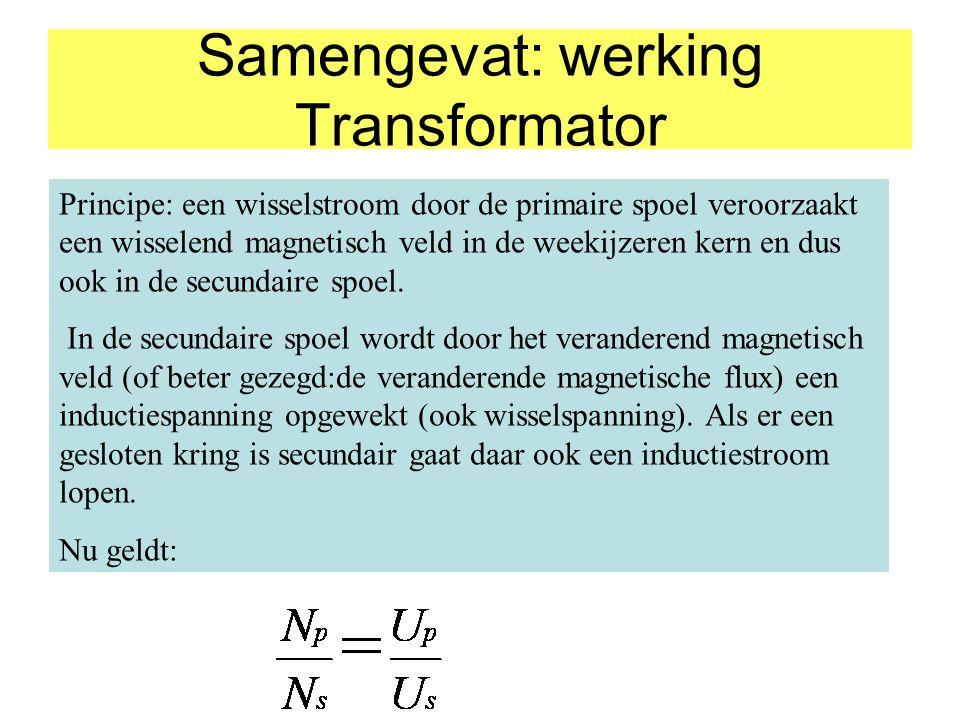 Samengevat: werking Transformator