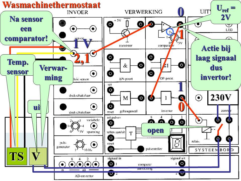 Na sensor een comparator! Actie bij laag signaal dus invertor!