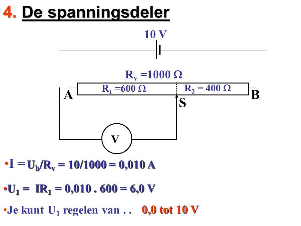 4. De spanningsdeler A B S I = 10 V Rv =1000 W V